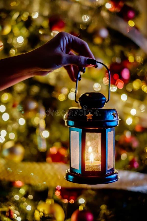 在圣诞树前面的女性举行的灯笼 库存照片