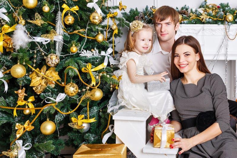 在圣诞树和礼物附近的家庭 库存图片