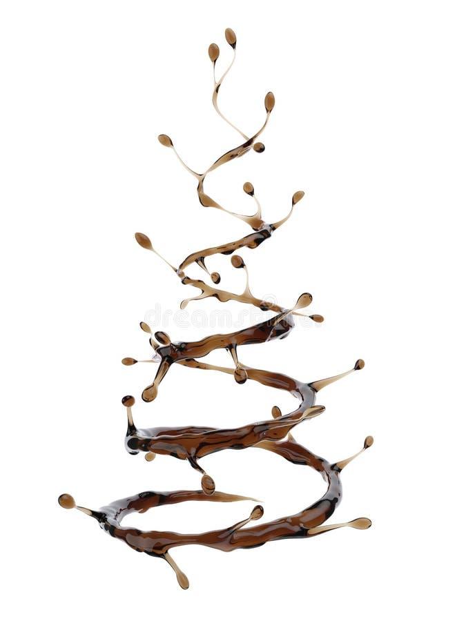 在圣诞树形状的咖啡飞溅  库存例证