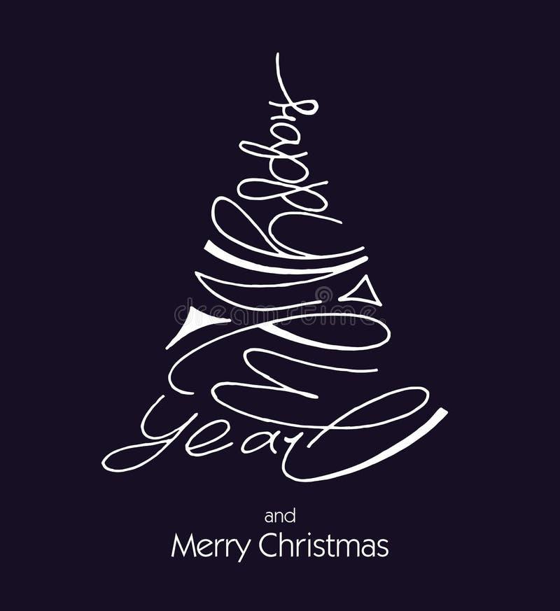 在圣诞树形状的手写的新年快乐字法  假日设计的现代墨水刷子书法 皇族释放例证