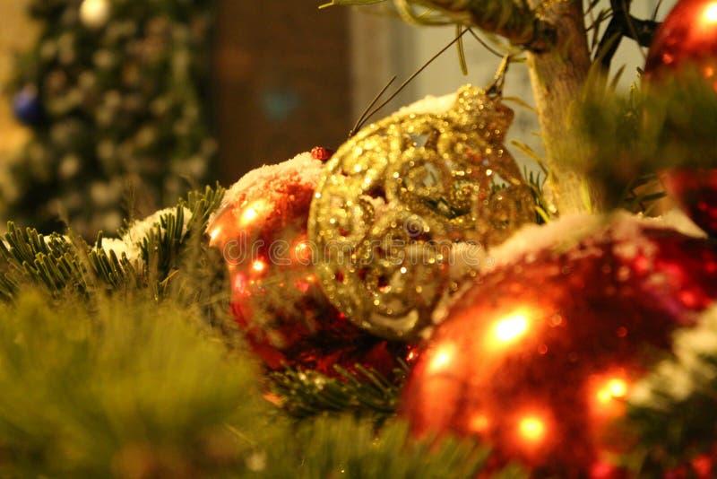 在圣诞树的圣诞节装饰在以球特写镜头的形式红色和金子颜色 在街道上或在围场 库存图片