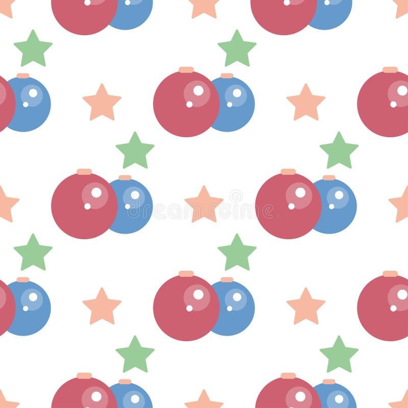 在圣诞树的在白色背景的球和星 E 向量例证