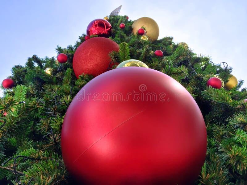 在圣诞树的大生动的装饰球 免版税库存图片