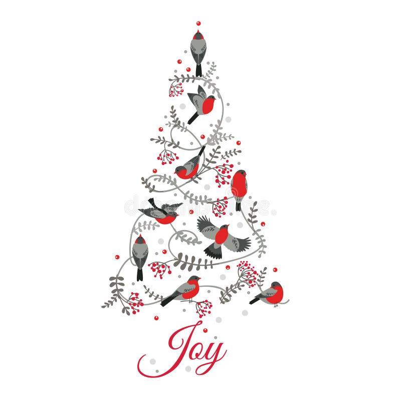 在圣诞树的鸟 皇族释放例证