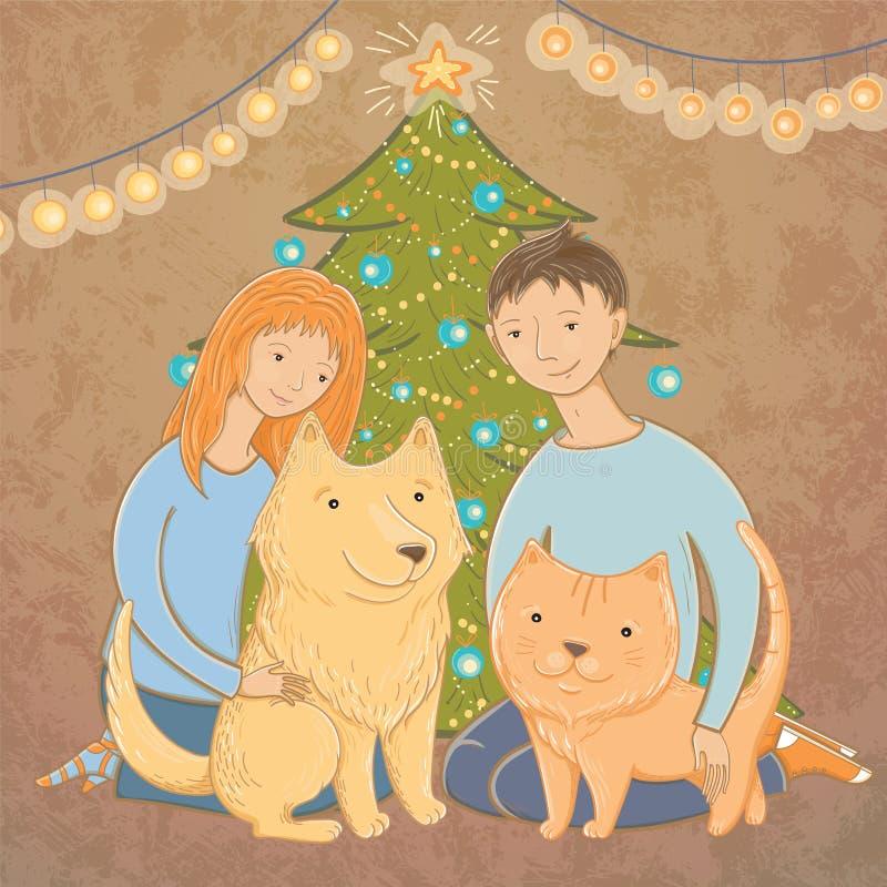 在圣诞树附近导航家庭的例证 库存例证