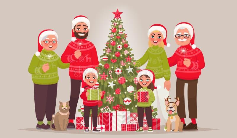在圣诞树附近的大快乐的家庭 圣诞快乐和H 库存例证