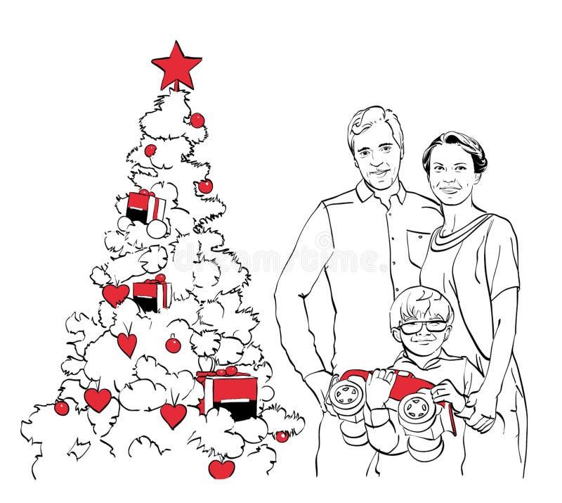 在圣诞树附近的系列 向量例证