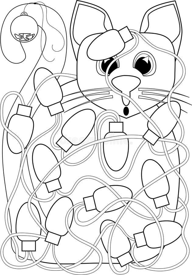 在圣诞灯缠结的猫上色页 向量例证