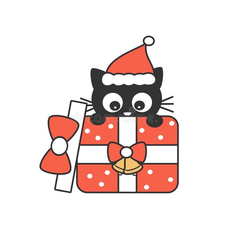 在圣诞礼物箱子假日传染媒介例证的逗人喜爱的动画片黑色小猫 向量例证
