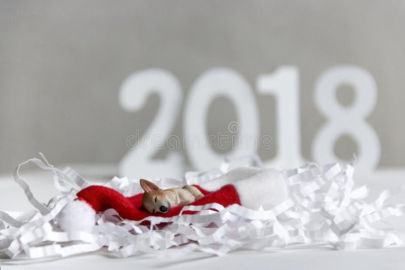 在圣诞老人圣诞老人帽子的狗睡眠在纸罐头 免版税库存图片