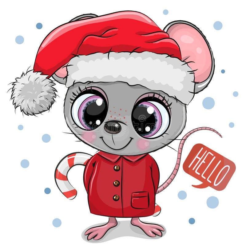 在圣诞老人帽子的动画片老鼠在白色背景 皇族释放例证
