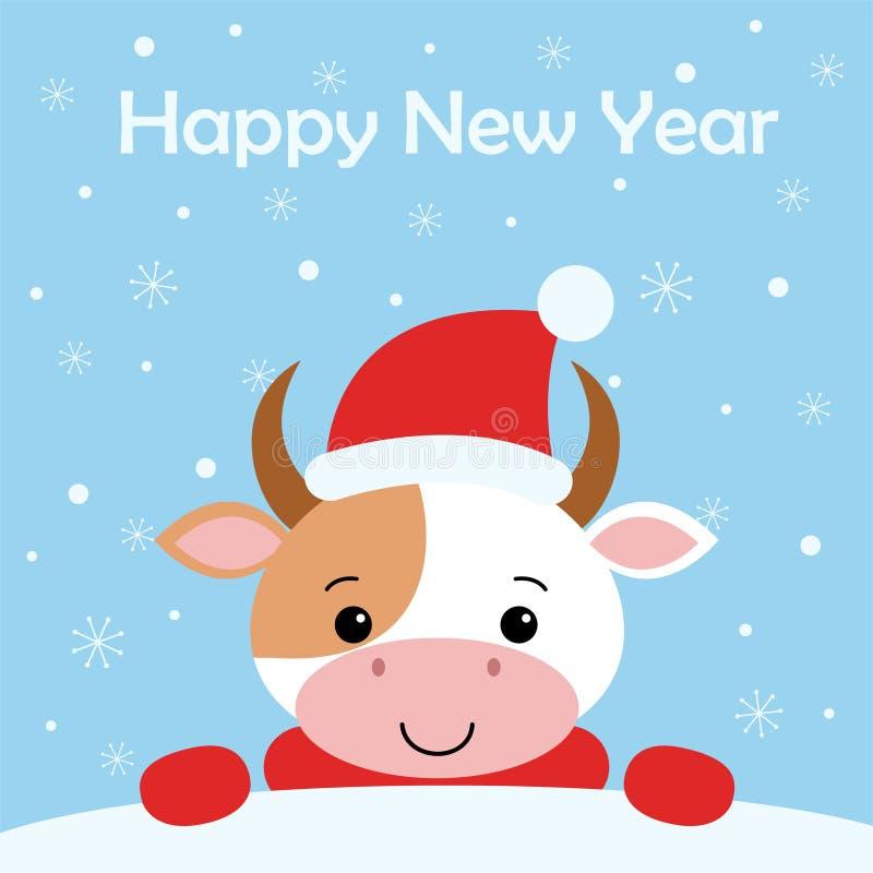 在圣诞老人帽子的圣诞快乐滑稽的母牛在背景雪 在动画片样式的卡片 向量例证