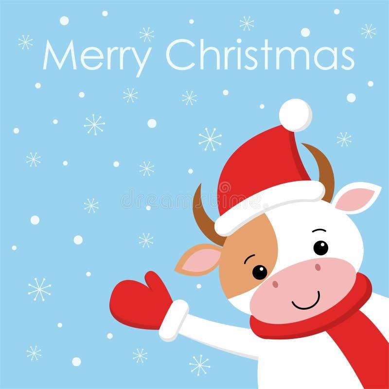 在圣诞老人帽子的圣诞快乐滑稽的母牛在背景雪 在动画片样式的卡片 皇族释放例证