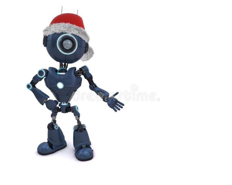在圣诞老人帽子的机器人 库存例证