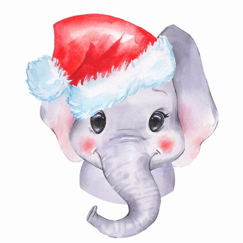 在圣诞老人帽子的水彩大象 向量例证