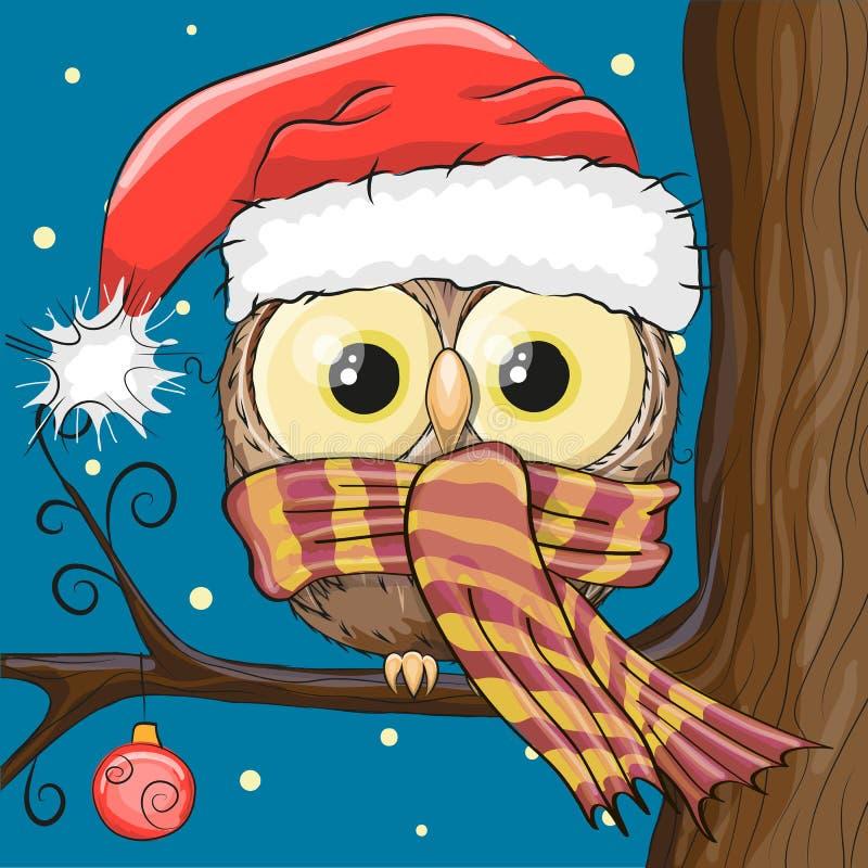 在圣诞老人帽子的猫头鹰