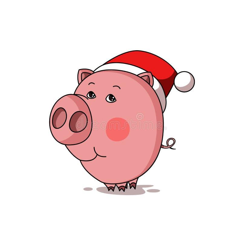 在圣诞老人帽子的逗人喜爱的动画片猪 库存例证