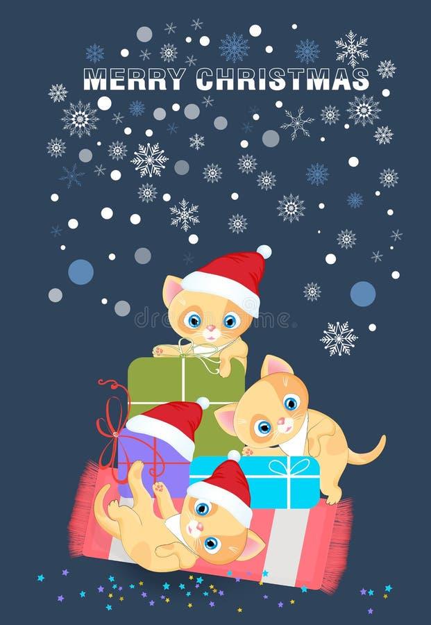 在圣诞老人帽子,在圣诞节的喜悦的猫 库存例证