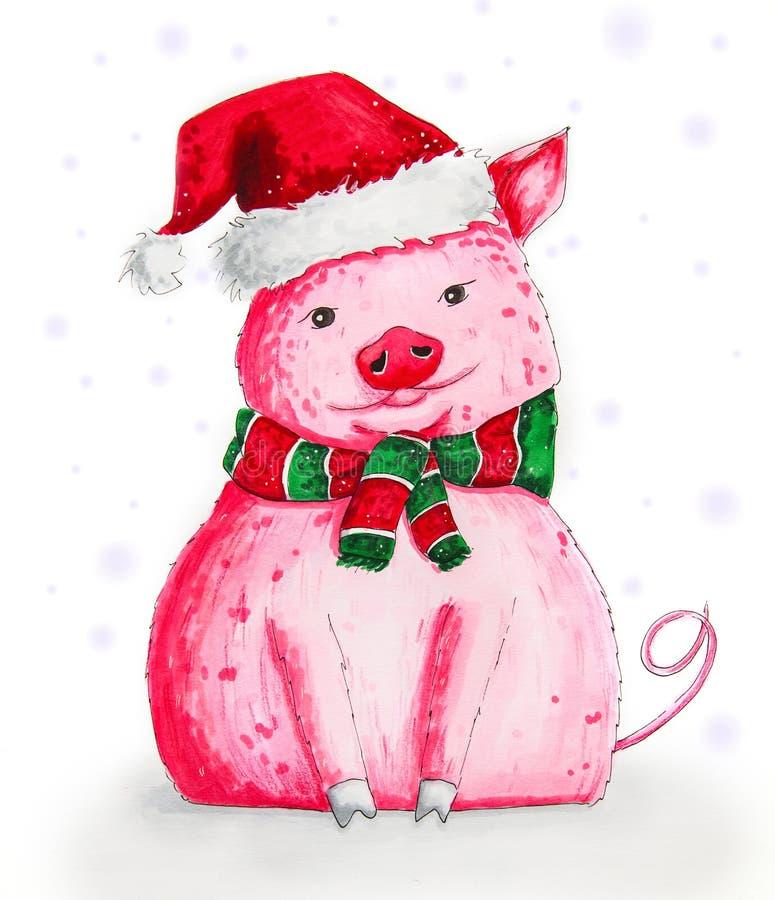 在圣诞老人的帽子和镶边围巾的逗人喜爱的动画片猪隔绝了onwhite手拉的标志例证 库存例证