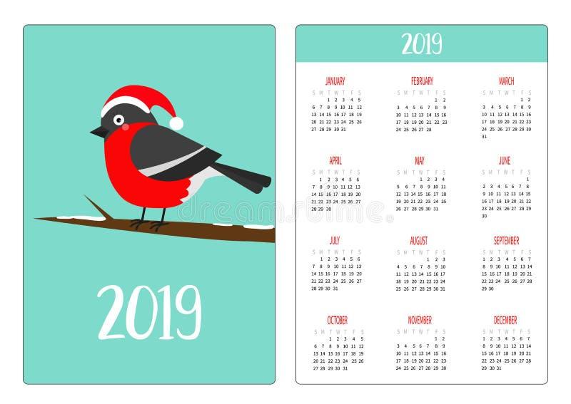 在圣诞老人红色帽子的逗人喜爱的bulfinch鸟 树枝 简单口袋日历布局2019新年 星期星期天开始 动画片 库存例证