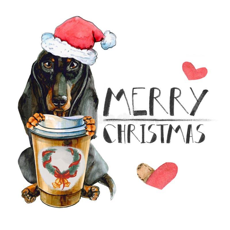 在圣诞老人项目圣诞节帽子的达克斯猎犬狗,有一杯温暖的咖啡的 背景查出的白色 向量例证
