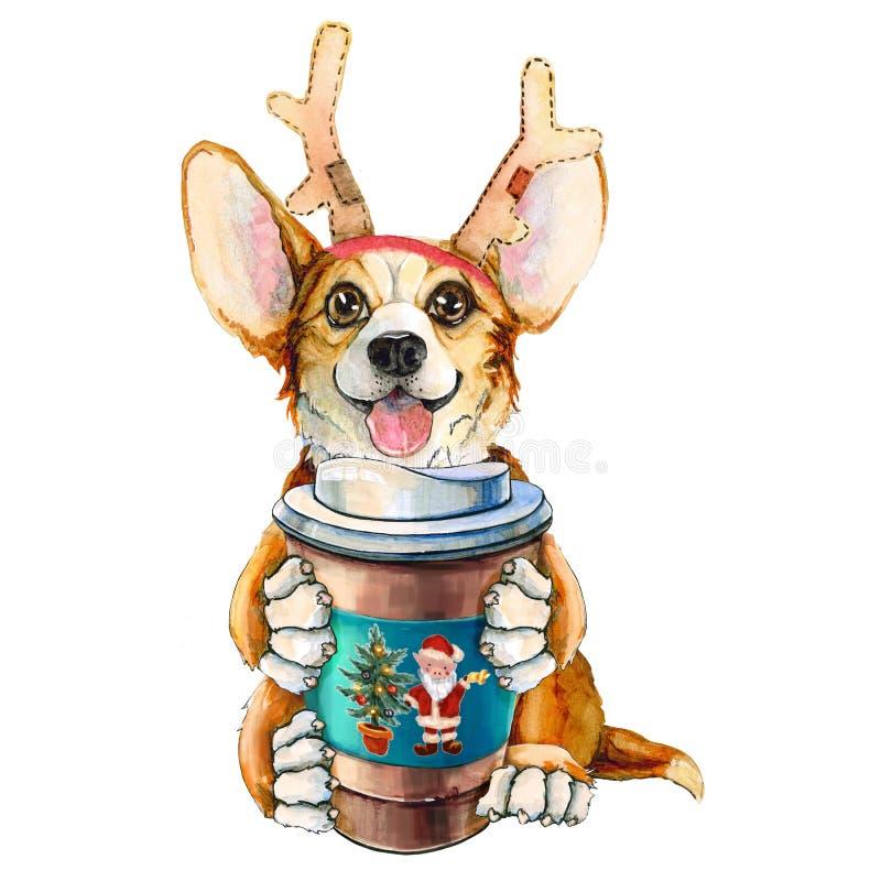 在圣诞老人项目帽子的小狗小狗 与咖啡和鹿垫铁的狗 背景查出的白色 圣诞节 库存例证