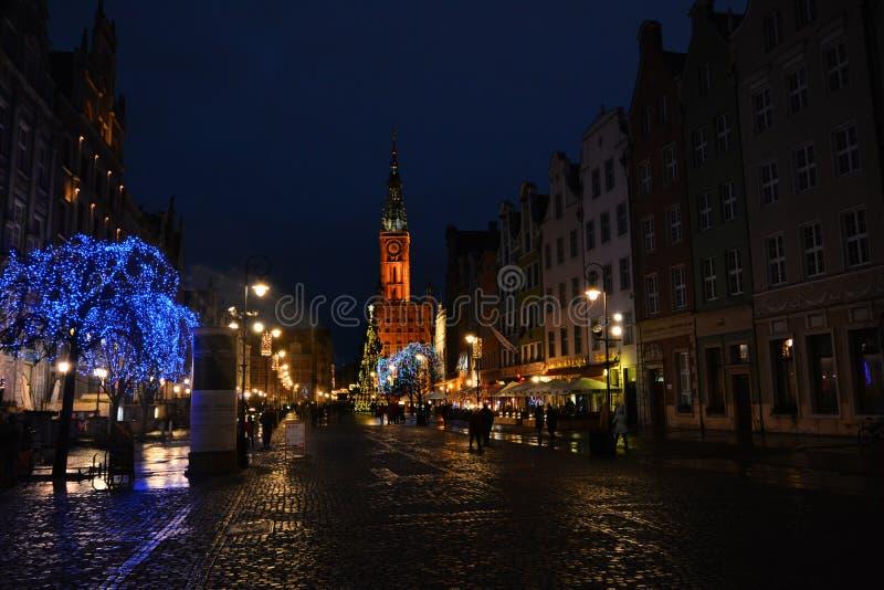 在圣诞节假日期间,格但斯克历史的分,波兰 库存照片