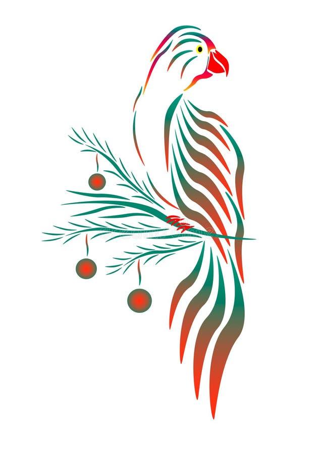在圣诞节分支的一只绿色红色鹦鹉 向量例证