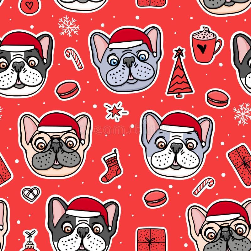 在圣诞节圣诞老人帽子的无缝的样式狗 法国牛头犬逗人喜爱的小狗手拉在红色 传染媒介例证假日设计 向量例证