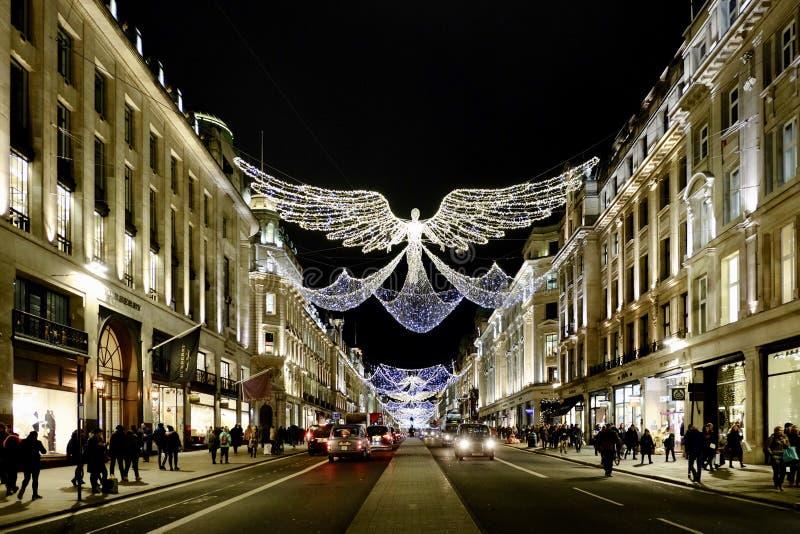 在圣诞节季节的摄政的街道 库存图片