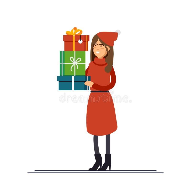 在圣诞节帽子和一件红色礼服打扮的美丽的妇女拿着礼物 新的销售额年 在.CS和.EPS10的传染媒介例证 库存例证