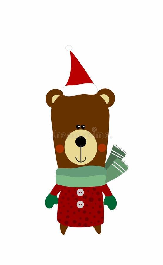 在圣诞节成套装备的逗人喜爱的圣诞老人熊 向量例证