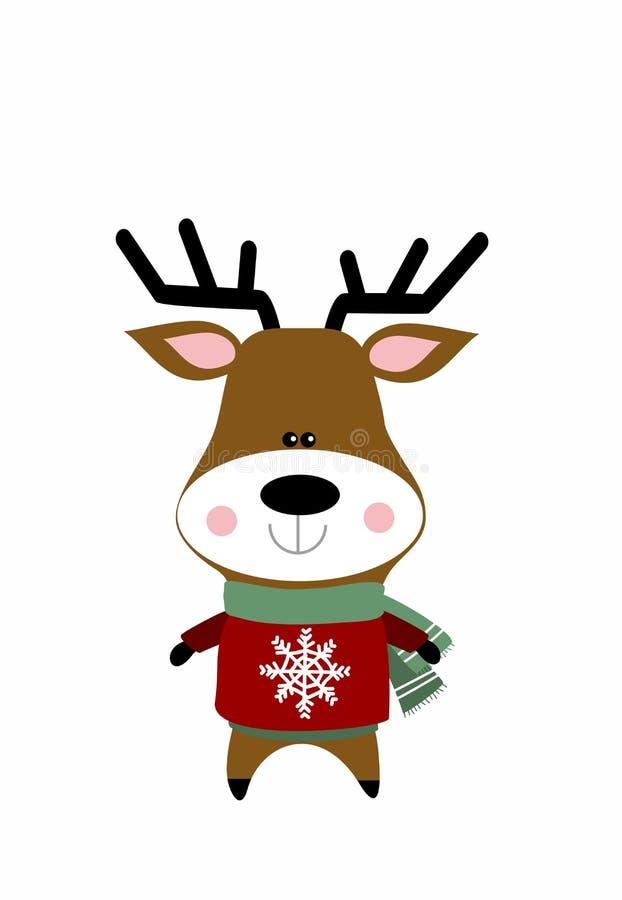 在圣诞节成套装备的逗人喜爱的鹿 库存例证