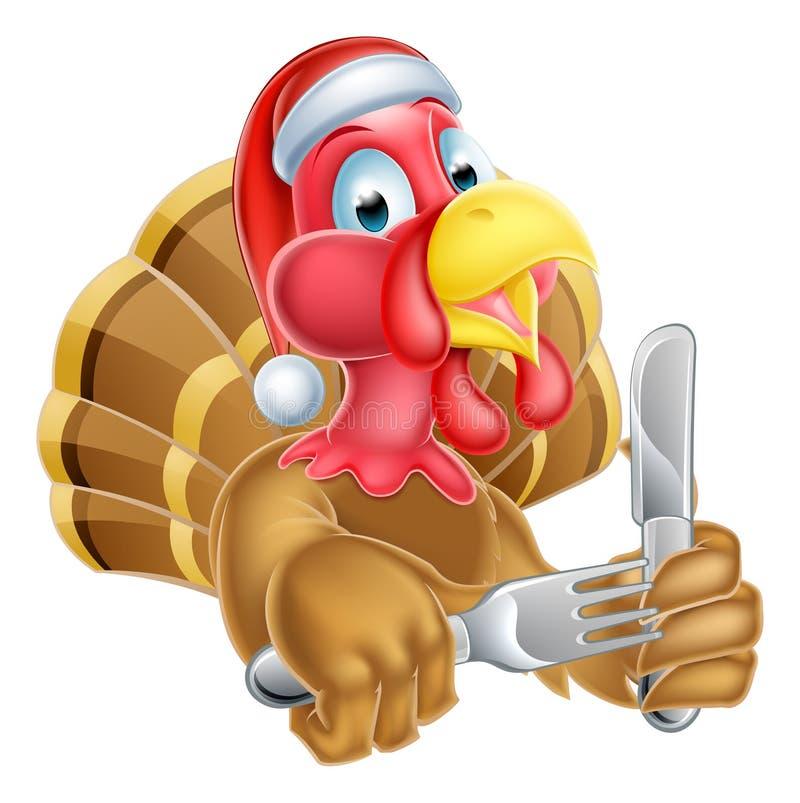 在圣诞节拿着刀子和叉子的圣诞老人帽子的动画片土耳其 向量例证