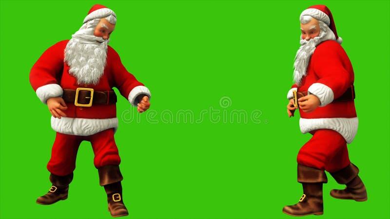 在圣诞节期间,圣诞老人项目弹在绿色屏幕上的吉他 3d翻译 向量例证
