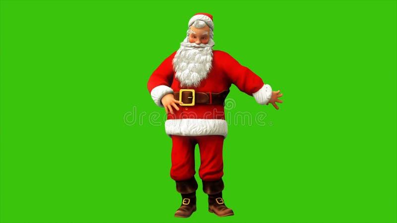 在圣诞节期间,快乐的圣诞老人项目在绿色屏幕上转动 3d翻译 库存例证