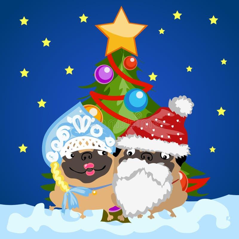 在圣诞节的两条哈巴狗狗打扮圣诞老人和雪未婚圣诞树的背景的 样品  皇族释放例证