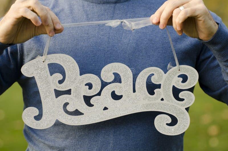 在圣诞节的和平! 库存照片