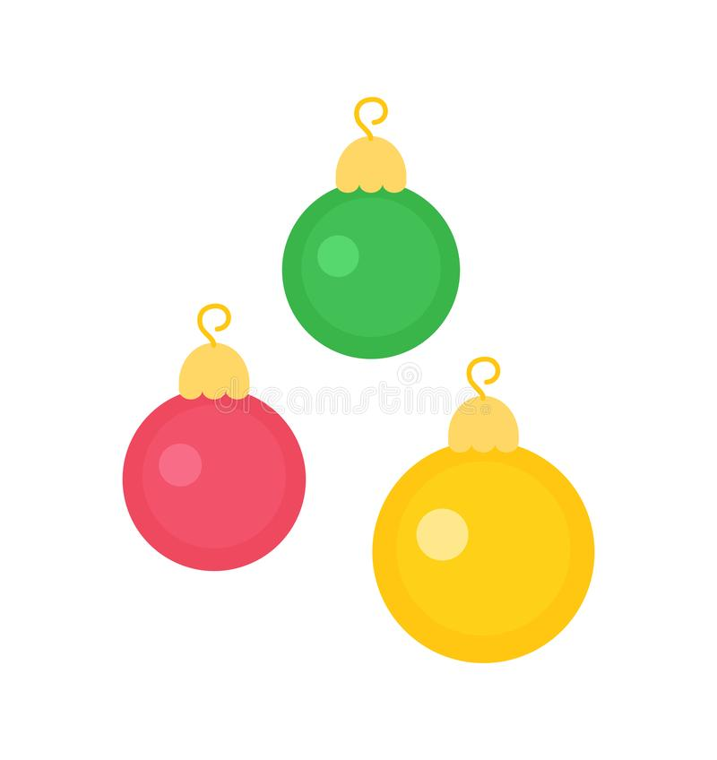 在圣诞节的新年装饰玩具,圆球 向量例证