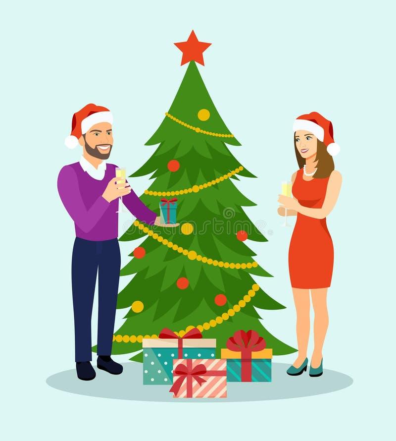 在圣诞节的系列 在圣诞树附近的家庭身分与杯香槟 向量例证
