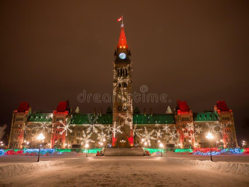 在圣诞节的议会小山 库存图片