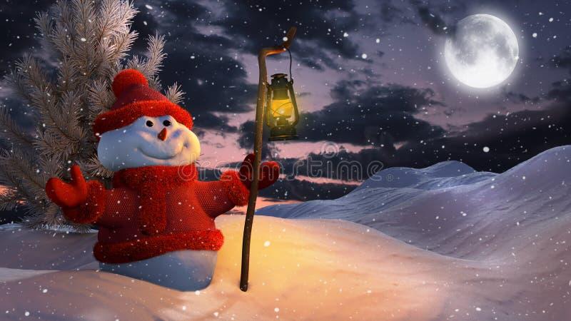 在圣诞节的雪人 向量例证