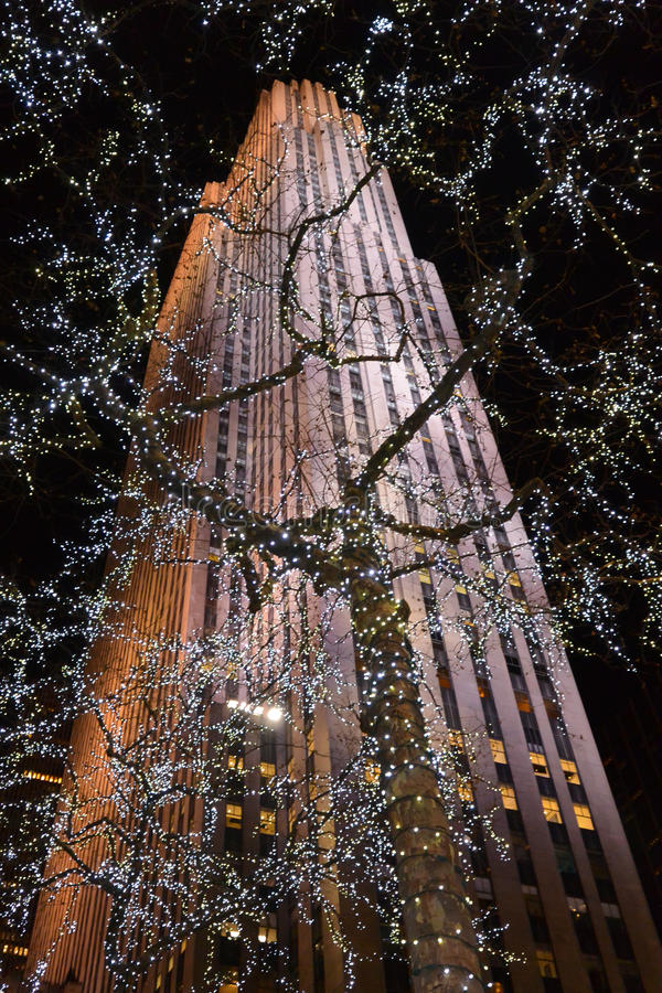 在圣诞节的洛克菲勒大厦 免版税库存照片