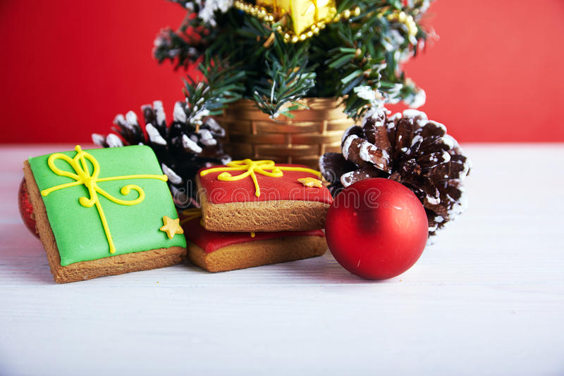 在圣诞节背景的接近的看法 库存照片