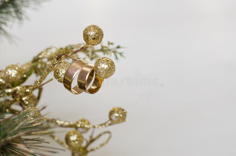 在圣诞节花圈的婚戒 免版税库存图片