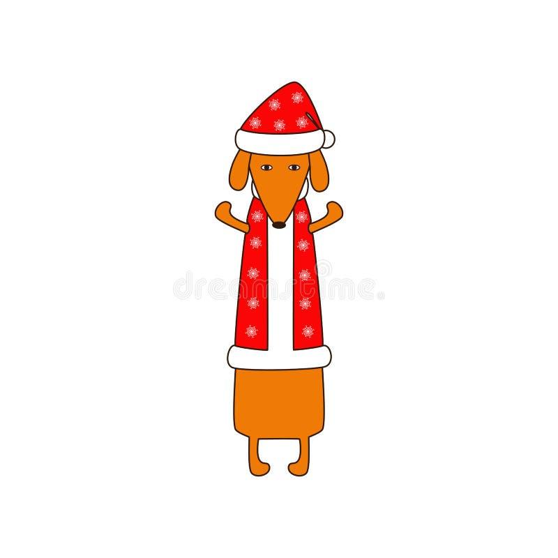 在圣诞节衣服的狗 库存例证
