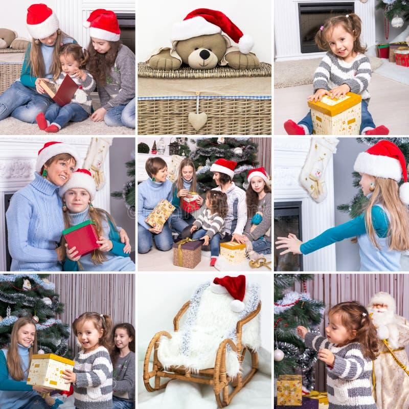 在圣诞节题材的拼贴画:愉快的家庭,孩子,克里斯 免版税库存图片