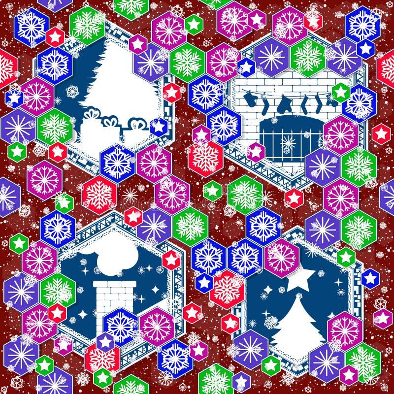 在圣诞节题材的无缝的样式 库存照片
