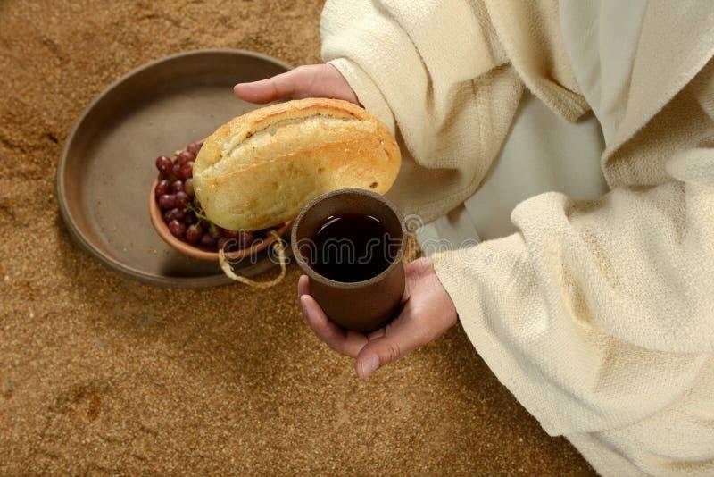 在圣餐期间的耶稣 免版税库存图片