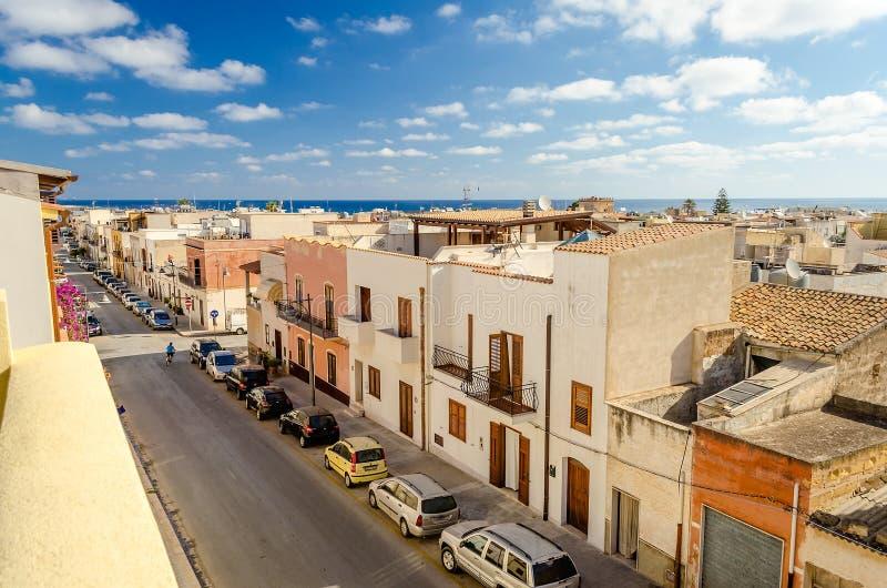 在圣维托洛卡波,西西里岛,意大利的全景 免版税库存图片